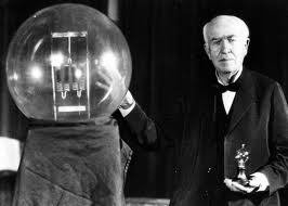 Thomas Edison with His Light Bulb Image