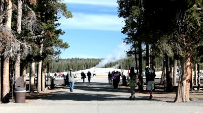 View of Old Faithful Geyser Image