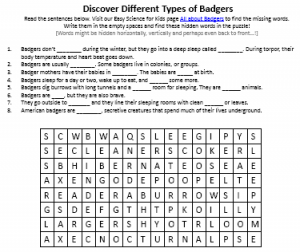 Download the FREE Badgers Burrowers Worksheet for Kids