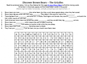 Download FREE Brown Bears Word Search Puzzle