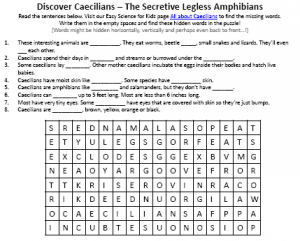 Download FREE Caecilian Worms Activity Sheet for Kids!
