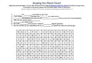 Download this free Caring for Our World Worksheet!