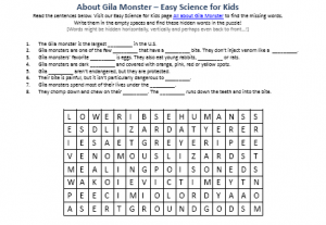 Download the FREE Gila Monster Word Search Activity Sheet!