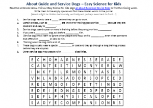Download the FREE Guide and Service Dogs Worksheet for Kids!