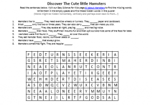 Download the FREE Hamsters Worksheet Hidden Words Puzzle!