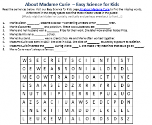 Download FREE Madame Curie Biography Worksheet for Kids!