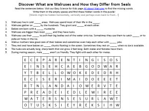 Download the FREE Walruses and Seals Worksheet for Kids!