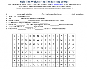 Download the FREE Wolves Activity Sheet for Kids!