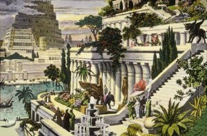 All about the Seven Wonders of the Ancient World Fun Geography Facts for Kids - an Engraving of the Hanging Gardens of Babylon