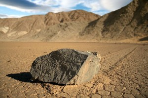 Fun Earth Science for Kids on Moving Rocks info - a Moving Rock in Racetrack Playa