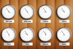 Fun Geography for Kids All about the Time Zone - Clocks with Different Times in the World image