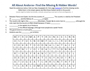 Download our FREE Andorra Worksheet for Kids!