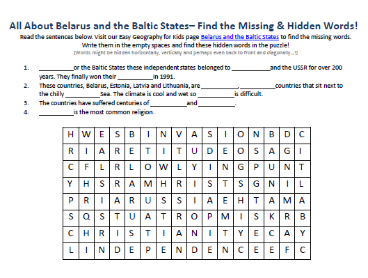 Download our FREE Belarus and the Baltic States Worksheet for Kids!