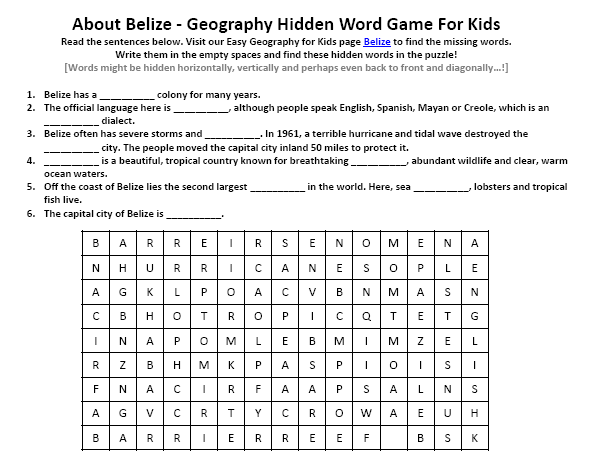Download our FREE Belize Worksheet for Kids!