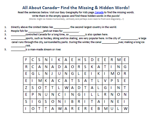 Download our FREE Canada Worksheet for Kids!