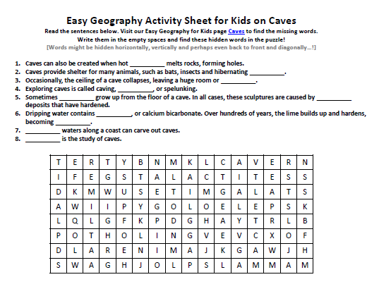 Download our FREE Caves Worksheet for Kids!