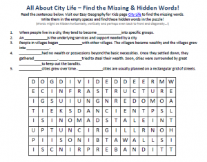 Download our FREE City Life Worksheet for Kids!