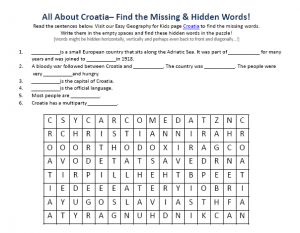 Download our FREE Croatia Worksheet for Kids!