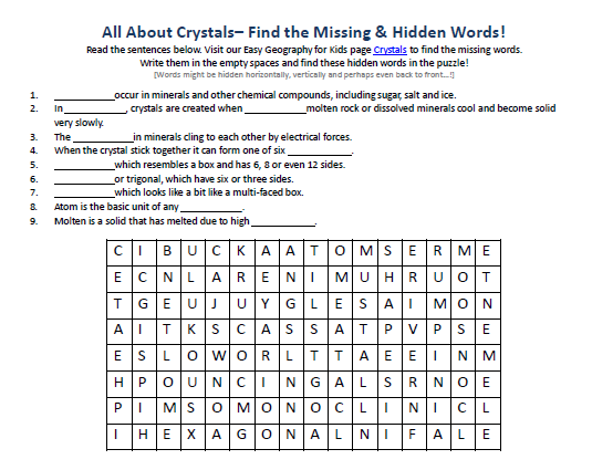 Download our FREE Crystals Worksheet for Kids!