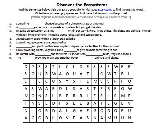 Download our FREE Ecosystems Worksheet for Kids!