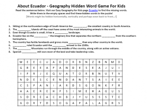 Download our FREE Ecuador Worksheet for Kids!