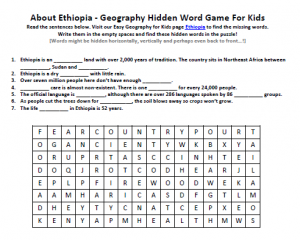 Download our FREE Ethiopia Worksheet for Kids!