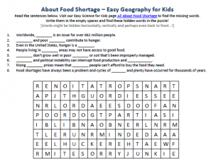 Download our FREE Food Shortage Worksheet for Kids!
