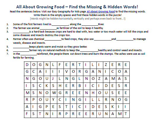 Download our FREE Growing Food Worksheet for Kids!
