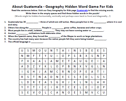 Download our FREE Guatemala Worksheet for Kids!