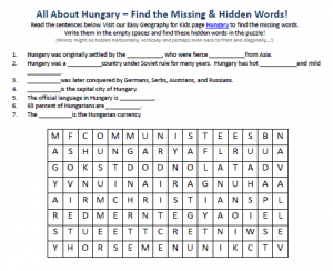 Download our FREE Hungary Worksheet for Kids!