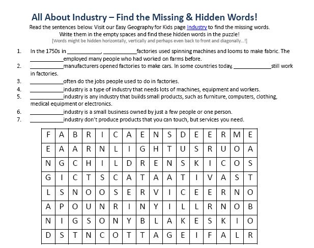 Download our FREE Industry Worksheet for Kids!