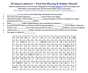 Download our FREE Lebanon Worksheet for Kids!