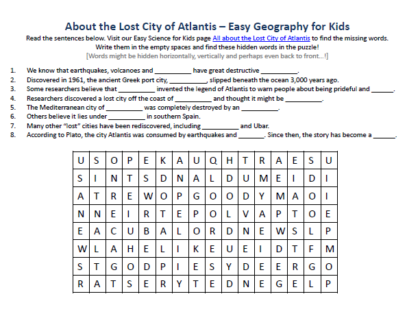Download our FREE Lost City of Atlantis Worksheet for Kids!