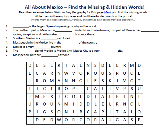 Download our FREE Mexico Worksheet for Kids!