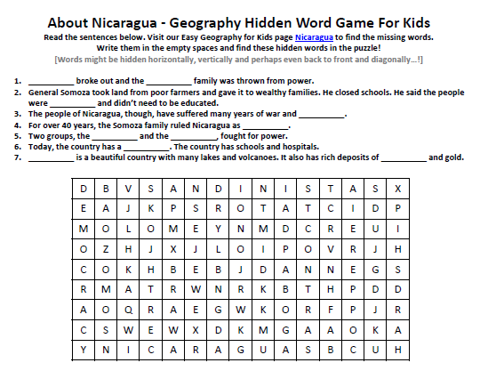Download our FREE Nicaragua Worksheet for Kids!