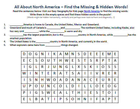 Download our FREE North America Worksheet for Kids!