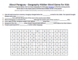 Download our FREE Paraguay Worksheet for Kids!