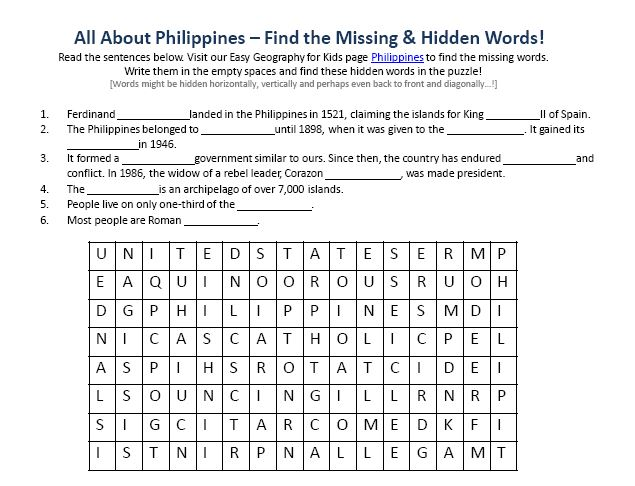 Download our FREE Philippines Worksheet for Kids!