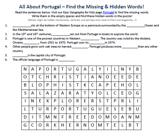 Download our FREE Portugal Worksheet for Kids!