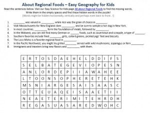 Download our FREE Regional Foods Worksheet for Kids!