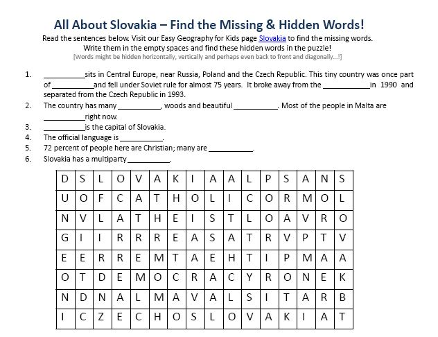 Download our FREE Slovakia Worksheet for Kids!