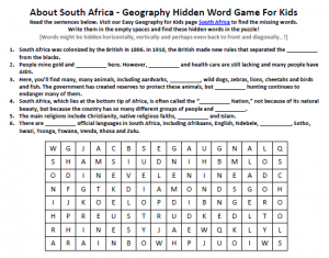 Download our FREE South Africa Worksheet for Kids!
