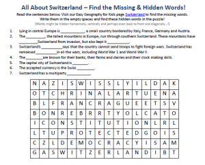 Download our FREE Switzerland Worksheet for Kids!