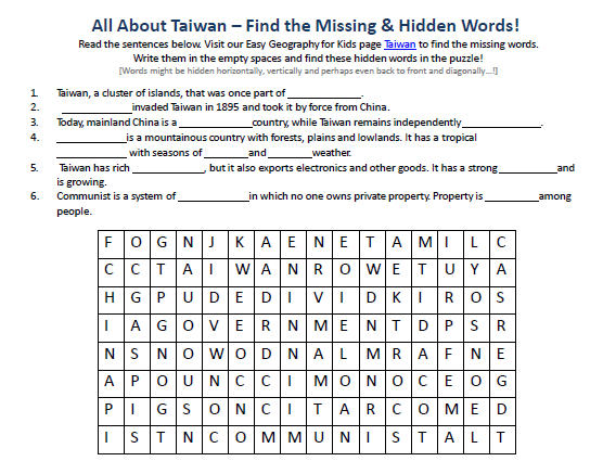 Download our FREE Taiwan Worksheet for Kids!