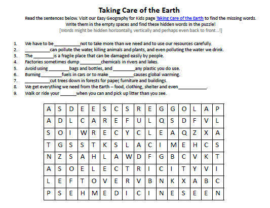 Download our FREE Taking Care of the Earth Worksheet for Kids!