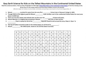 Download our FREE Tallest Mountains in the Continental United States Worksheet for Kids!