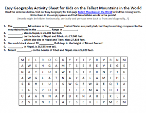 Download our FREE Tallest Mountains in the World Worksheet for Kids!