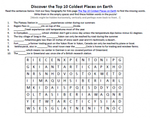 Download our FREE Top 10 Coldest Places on Earth Worksheet for Kids!