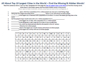 Download our FREE Top 10 Largest Cities in the World Worksheet for Kids!