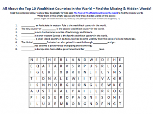 Download our FREE Top 10 Wealthiest Countries in the World Worksheet for Kids!